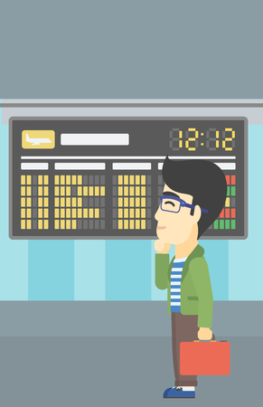 departure board: An asian young man with a briefcase looking at departure board at the airport. Passenger standing at the airport in front of departure board. Vector flat design illustration. Vertical layout.