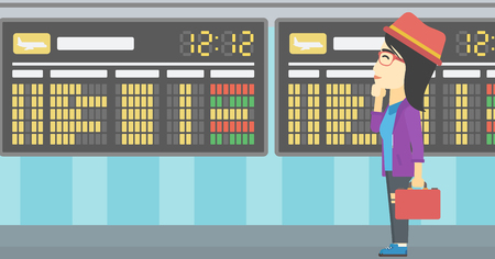 departure: An asian young woman with briefcase looking at departure board at the airport. Passenger standing at the airport in front of departure board. Vector flat design illustration. Horizontal layout.