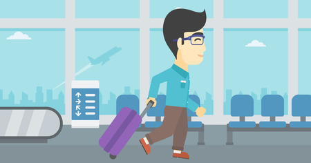 An asian young man with a suitcase walking at the airport. Vector flat design illustration. Horizontal  layout.