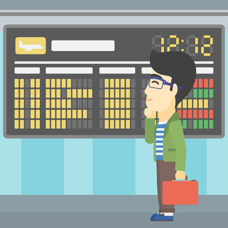 departure board: An asian young man with a briefcase looking at departure board at the airport. Passenger standing at the airport in front of departure board. Vector flat design illustration. Square layout.
