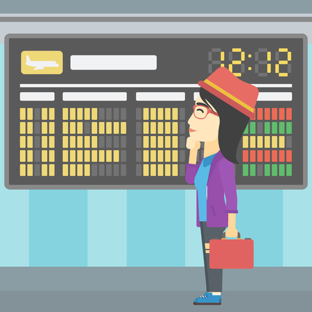 departure board: An asian young woman with briefcase looking at departure board at the airport. Passenger standing at the airport in front of departure board. Vector flat design illustration. Square layout. Illustration