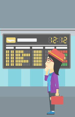 departure board: An asian young woman with briefcase looking at departure board at the airport. Passenger standing at the airport in front of departure board. Vector flat design illustration. Vertical layout.