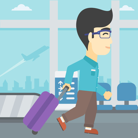 An asian young man with a suitcase walking at the airport. Vector flat design illustration. Square layout. Ilustração
