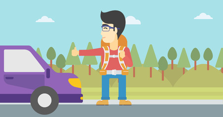 hitchhiking: An asian young man with backpack hitchhiking on roadside. Hitchhiking man trying to stop a car on the road. Vector flat design illustration. Horizontal layout.