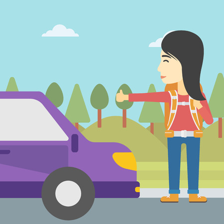 hitchhiking: An asian young woman with backpack hitchhiking on roadside. Hitchhiking woman trying to stop a car on the road. Vector flat design illustration. Square layout.
