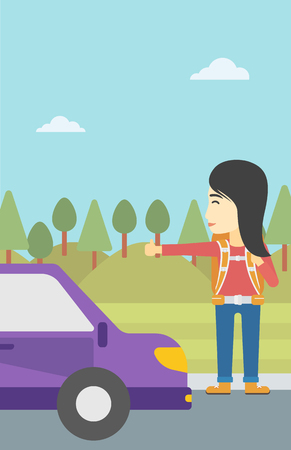 roadside: An asian young woman with backpack hitchhiking on roadside. Hitchhiking woman trying to stop a car on the road. Vector flat design illustration. Vertical layout.