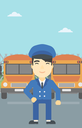 basic shape: An asian school bus driver standing in front of yellow bus. Vector flat design illustration. Vertical layout.