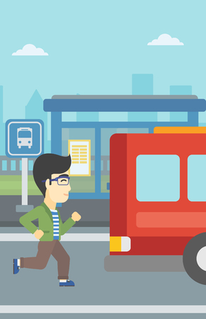 An asian latecomer man running along the sidewalk to reach a bus. Young man came too late at bus stop. Man chasing a bus. Vector flat design illustration. Vertical layout.