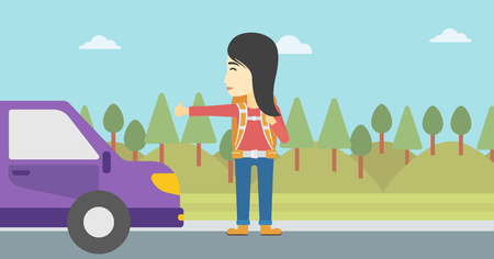 hitchhiking: An asian young woman with backpack hitchhiking on roadside. Hitchhiking woman trying to stop a car on the road. Vector flat design illustration. Horizontal  layout.