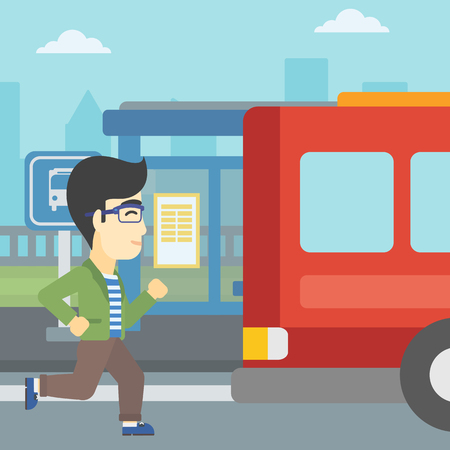An asian latecomer man running along the sidewalk to reach a bus. Young man came too late at bus stop. Man chasing a bus. Vector flat design illustration. Square layout.