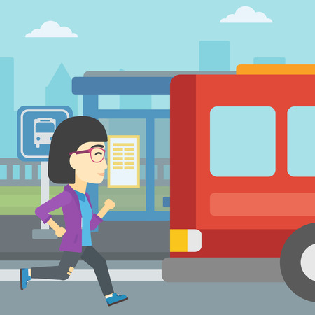 late: An asian latecomer woman running along the sidewalk to reach a bus. Young woman came too late at bus stop. Woman chasing a bus. Vector flat design illustration. Square layout. Illustration
