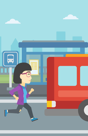 came: An asian latecomer woman running along the sidewalk to reach a bus. Young woman came too late at bus stop. Woman chasing a bus. Vector flat design illustration. Vertical layout.