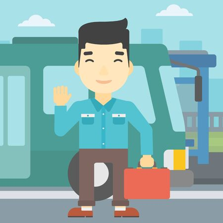 entrance door: An asian young man standing at the entrance door of a bus on a city background. Young man waving in front of a bus. Vector flat design illustration. Square layout.