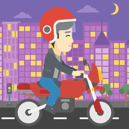 city man: An asian young man in helmet riding a motorcycle on the background of night city. Man driving a motorbike on a city road. Vector flat design illustration. Square layout.