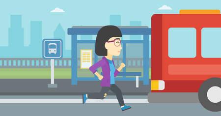 An asian latecomer woman running along the sidewalk to reach a bus. Young woman came too late at bus stop. Woman chasing a bus. Vector flat design illustration. Horizontal  layout.