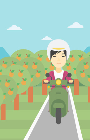 An asian young woman riding a scooter on the asphalt road through the orchard. Young woman in helmet driving a scooter. Vector flat design illustration. Vertical layout.