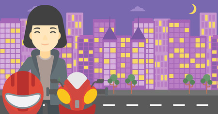 basic shape: An asian young woman with helmet in hands standing near motorcycle on the background of night city. Vector flat design illustration. Horizontal layout.