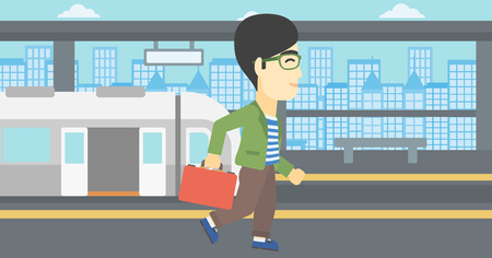 An asian young man walking on the train platform on the background of train with open doors. Vector flat design illustration. Horizontal  layout. Illustration