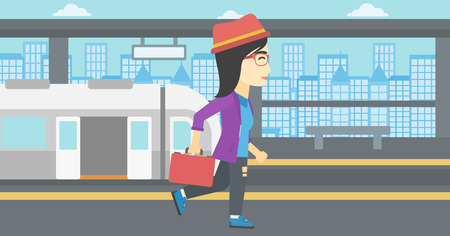 An asian young woman walking on the train platform on the background of train with open doors. Vector flat design illustration. Horizontal  layout.