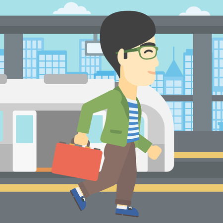 An asian young man walking on the train platform on the background of train with open doors. Vector flat design illustration. Square layout.