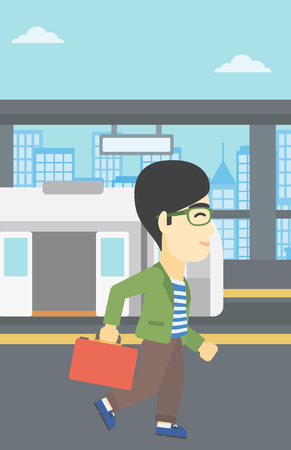 An asian young man walking on the train platform on the background of train with open doors. Vector flat design illustration. Vertical layout. Illustration