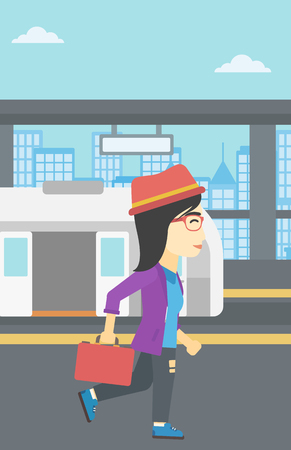 An asian young woman walking on the train platform on the background of train with open doors. Vector flat design illustration. Vertical layout. Illustration
