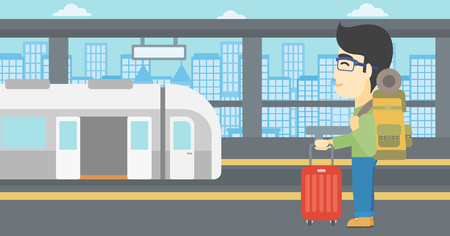 An asian young man standing at the train station on the background of train with open doors. Young man with suitcase waiting for a train. Vector flat design illustration. Horizontal layout. Illustration