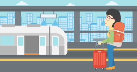 An asian woman standing at the train station on the background of train with open doors. Young woman with suitcase waiting for a train. Vector flat design illustration. Horizontal layout.
