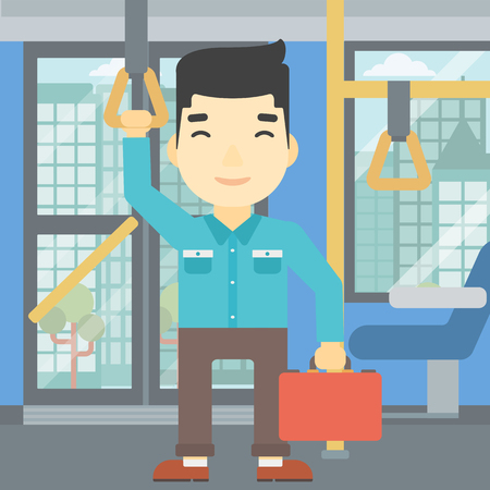 An asian young man traveling by public transport. Man traveling by passenger bus or subway. Vector flat design illustration. Square layout.