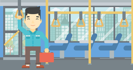 handgrip: An asian young man traveling by public transport. Man traveling by passenger bus or subway. Vector flat design illustration. Horizontal  layout.