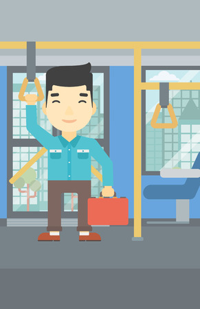 handgrip: An asian young man traveling by public transport. Man traveling by passenger bus or subway. Vector flat design illustration. Vertical layout. Illustration