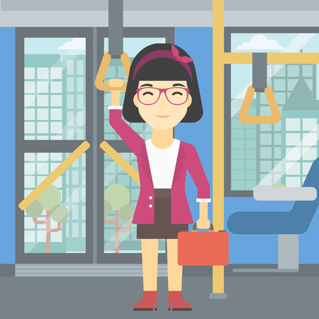 handgrip: An asian woman traveling by public transport. Young woman standing inside public transport. Woman traveling by passenger bus or subway. Vector flat design illustration. Square layout. Illustration
