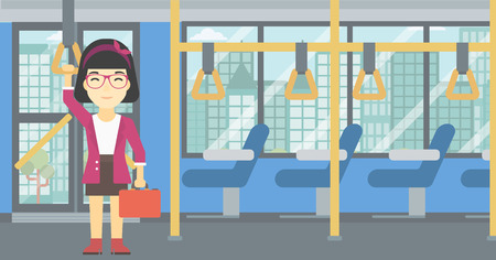 handgrip: An asian woman traveling by public transport. Young woman standing inside public transport. Woman traveling by passenger bus or subway. Vector flat design illustration. Horizontal layout.