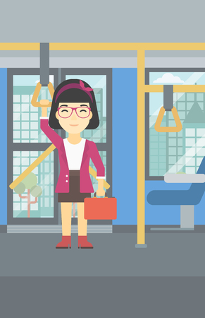 handgrip: An asian woman traveling by public transport. Young woman standing inside public transport. Woman traveling by passenger bus or subway. Vector flat design illustration. Vertical layout. Illustration