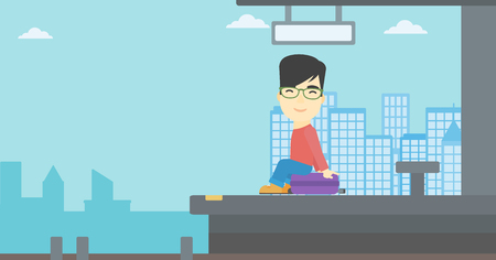 An asian young man sitting on a suitcase at the train station. Young man waiting for a train at the railway platform. Vector flat design illustration. Horizontal  layout. Illustration