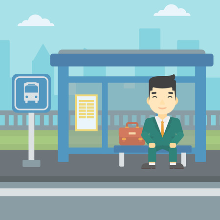 basic shape: An asian young man waiting for a bus at a bus stop on a city background. Young man sitting at the bus stop. Vector flat design illustration. Square layout.