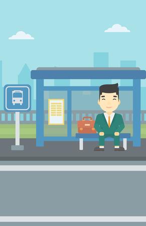 Azjatykci młodego człowieka czekanie dla autobusu przy autobusową przerwą na miasta tle. Młody człowiek siedzi na przystanku autobusowym. Ilustracja wektorowa Płaska konstrukcja. Układ pionowy.