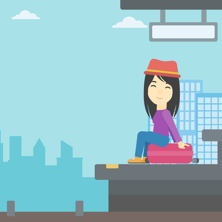 An asian young woman sitting on a suitcase at the train station on the background of arriving train. Woman waiting for a train at the platform. Vector flat design illustration. Square layout. Illustration