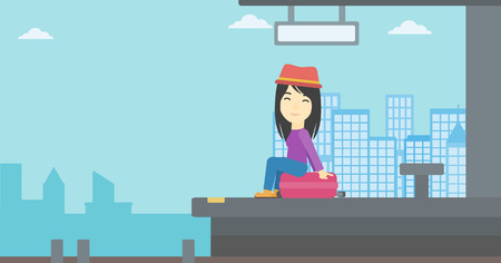 An asian young woman sitting on a suitcase at the train station on the background of arriving train. Woman waiting for a train at the platform. Vector flat design illustration. Horizontal layout. Illustration