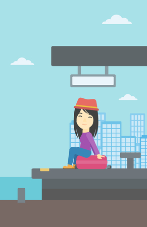 An asian young woman sitting on a suitcase at the train station on the background of arriving train. Woman waiting for a train at the platform. Vector flat design illustration. Vertical layout. Illustration