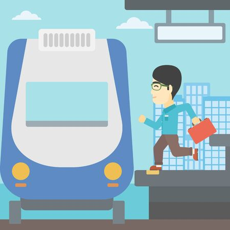 came: An asian latecomer man with briefcase running along the platform to reach the train. Young man came too late at train station. Vector flat design illustration. Square layout. Illustration