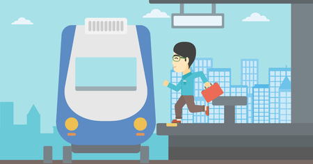 came: An asian latecomer man with briefcase running along the platform to reach the train. Young man came too late at train station. Vector flat design illustration. Horizontal layout.