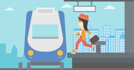 young woman running: An asian latecomer woman running along the platform to reach the train. Young woman with briefcase at the train station. Vector flat design illustration. Horizontal  layout.