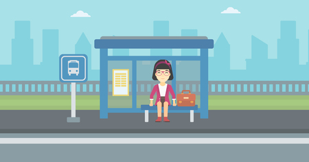 young woman sitting: An asian woman with briefcase waiting for a bus at a bus stop on a city background. Young woman sitting at bus stop at the city street. Vector flat design illustration. Horizontal  layout.