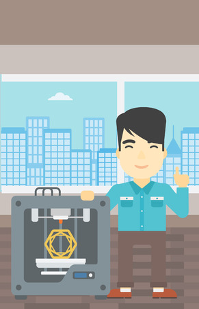3d printer: An asian young man standing near three D printer and pointing forefinger up. Engineer using 3D printer. Man working with 3D printer. Vector flat design illustration. Vertical layout.