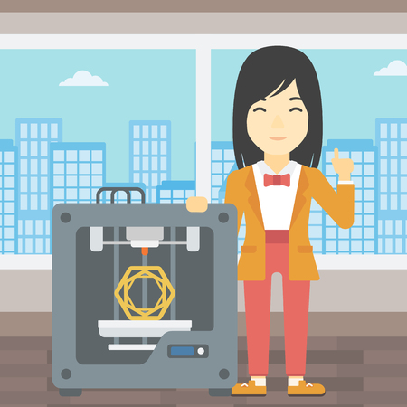 forefinger: An asian young woman standing near tree D printer and pointing forefinger up. Engineer using 3D printer. Woman working with 3D printer. Vector flat design illustration. Square layout.