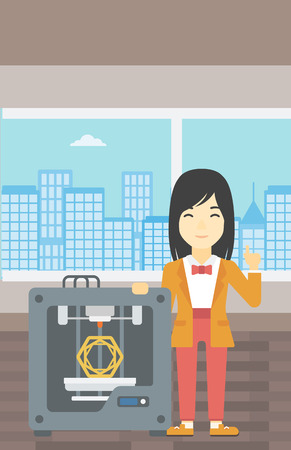 basic shape: An asian young woman standing near tree D printer and pointing forefinger up. Engineer using 3D printer. Woman working with 3D printer. Vector flat design illustration. Vertical layout. Illustration
