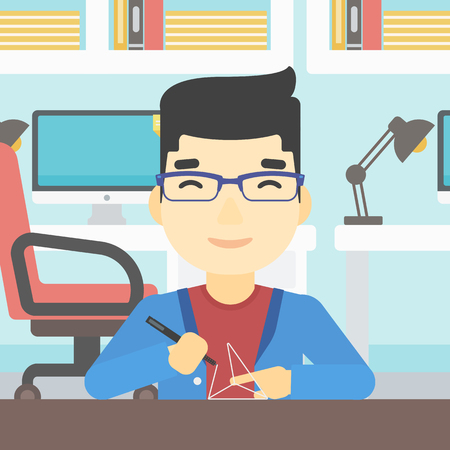 polymerization: An asian young man making a model with a 3D pen. Man drawing geometric shape by 3d pen. Man working with a 3d-pen. Vector flat design illustration. Square layout. Illustration