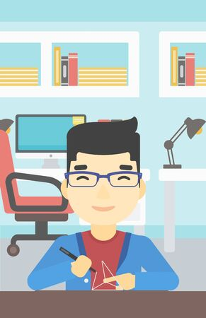 An asian young man making a model with a 3D pen. Man drawing geometric shape by 3d pen. Man working with a 3d-pen. Vector flat design illustration. Vertical layout.