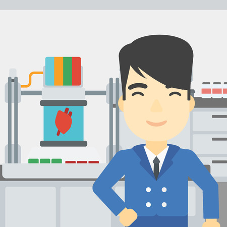 An asian young man standing near 3D printer making a heart on the background of laboratory. Man working with 3D printer. Vector flat design illustration. Square layout. Illustration